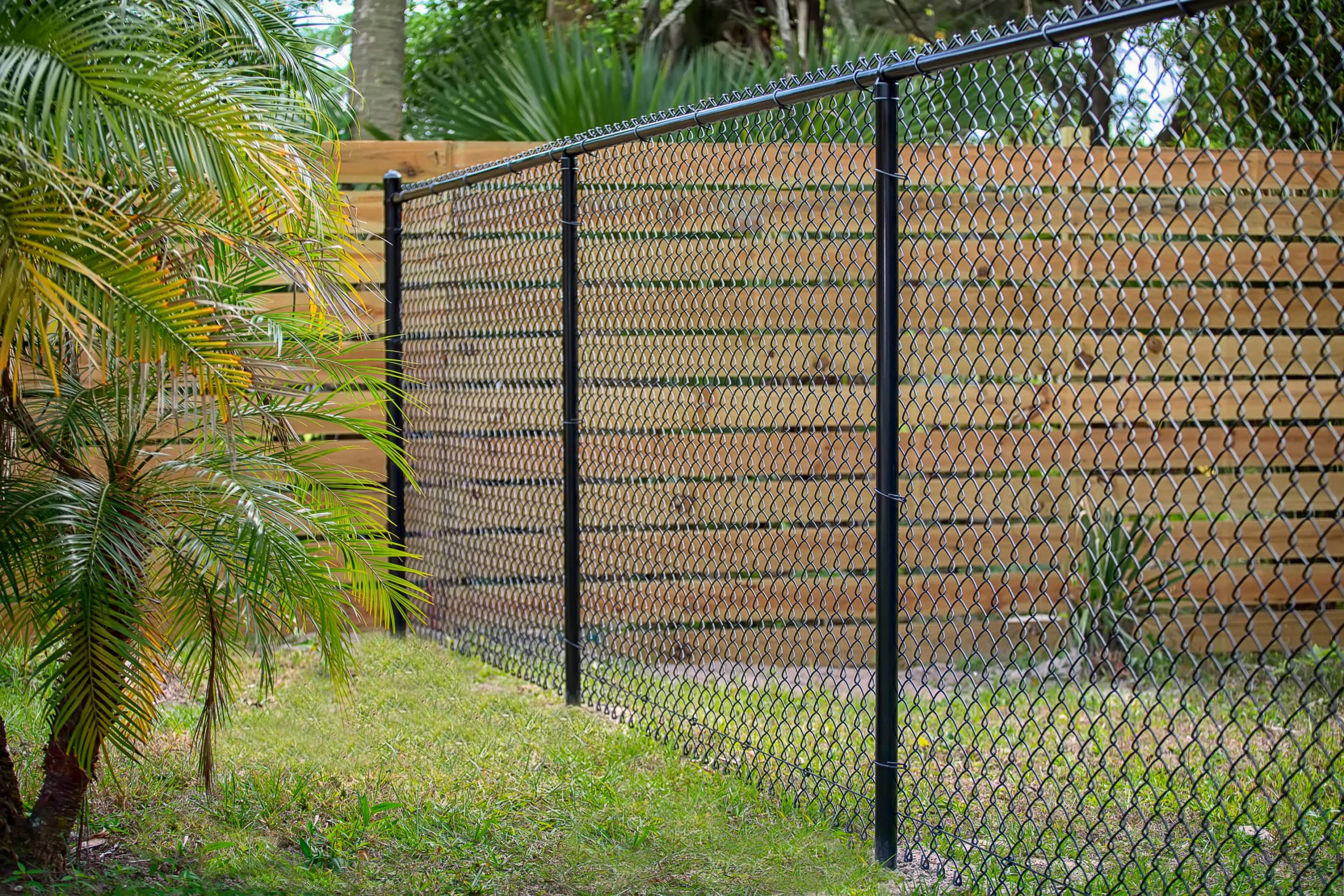 This image shows a tall black chain link fence.